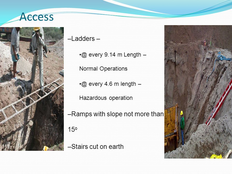 Access Ladders – Ramps with slope not more than 15o
