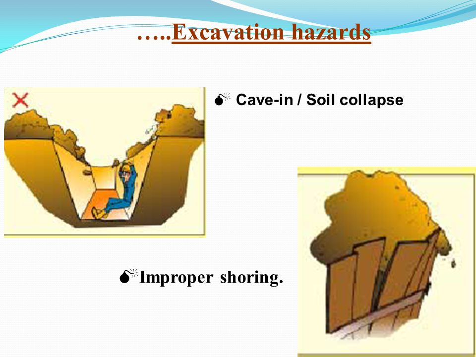 …..Excavation hazards Cave-in / Soil collapse Improper shoring.