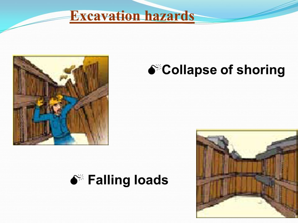 Excavation hazards Collapse of shoring Falling loads