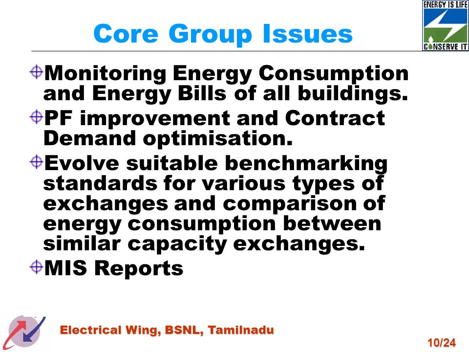 Core Group Issues Monitoring Energy Consumption and Energy Bills of all buildings. PF improvement and Contract Demand optimisation.