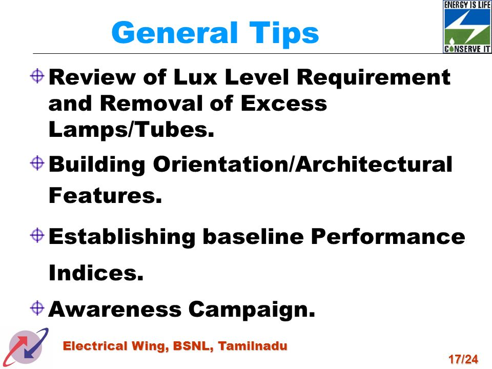 General Tips Review of Lux Level Requirement and Removal of Excess Lamps/Tubes. Building Orientation/Architectural Features.