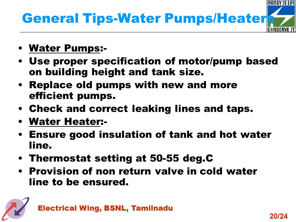 General Tips-Water Pumps/Heaters