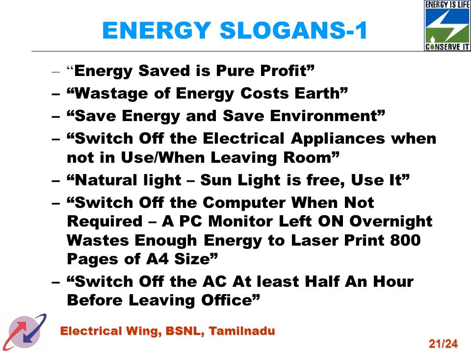 ENERGY SLOGANS-1 Energy Saved is Pure Profit