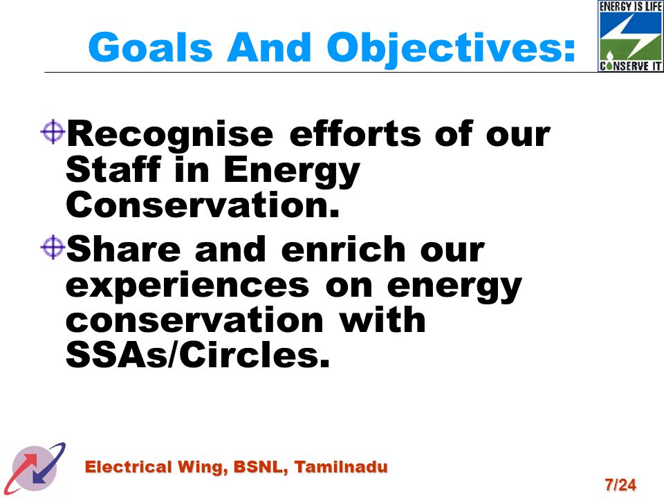 Goals And Objectives: Recognise efforts of our Staff in Energy Conservation.