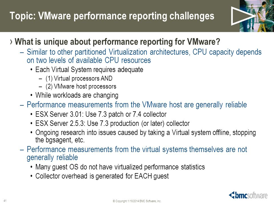Topic: VMware performance reporting challenges