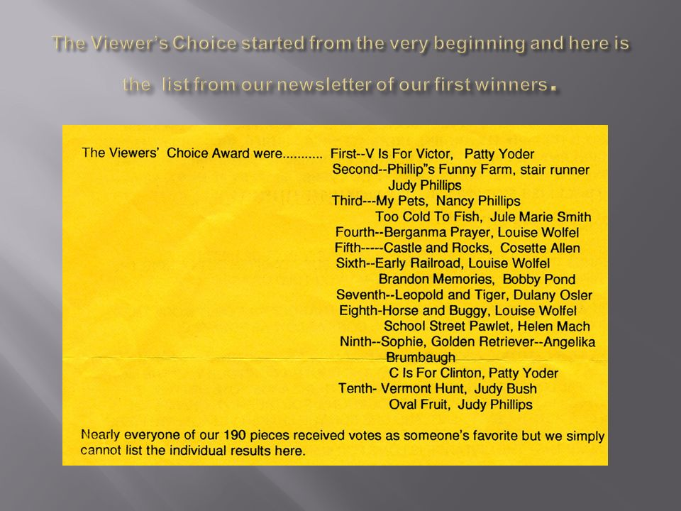 The Viewer's Choice started from the very beginning and here is the list from our newsletter of our first winners.