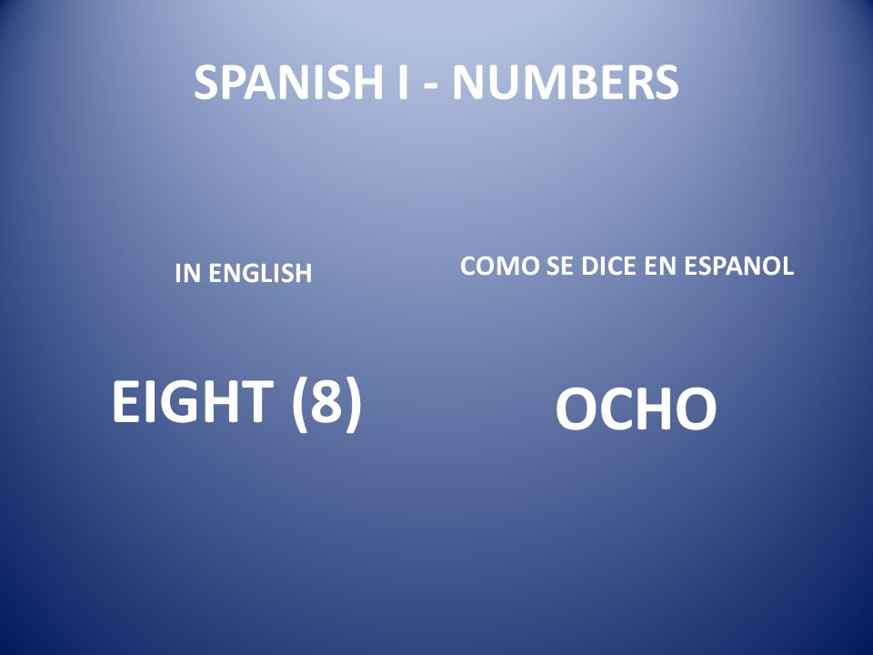 EIGHT (8) OCHO SPANISH I - NUMBERS COMO SE DICE EN ESPANOL IN ENGLISH