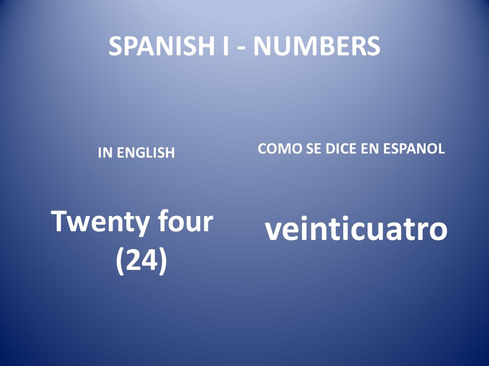 veinticuatro Twenty four (24) SPANISH I - NUMBERS