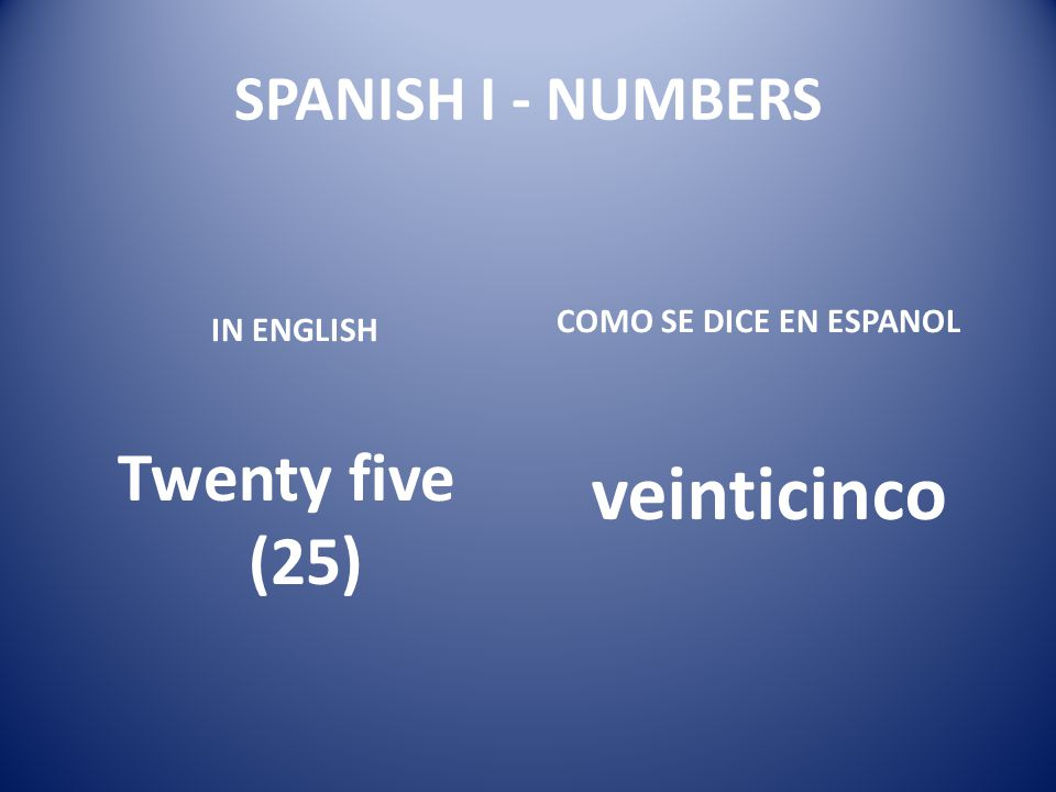 veinticinco Twenty five (25) SPANISH I - NUMBERS