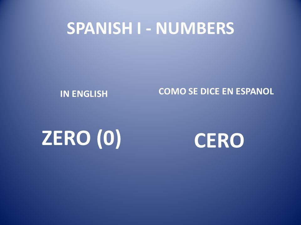 SPANISH I - NUMBERS COMO SE DICE EN ESPANOL IN ENGLISH ZERO (0) CERO