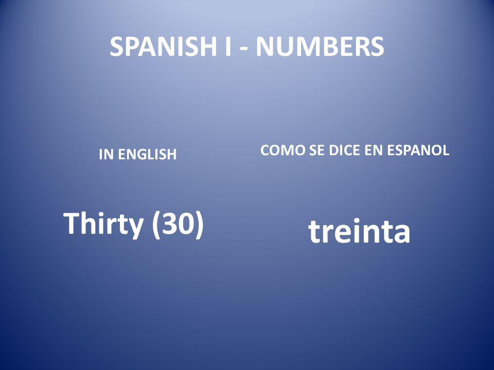 treinta Thirty (30) SPANISH I - NUMBERS COMO SE DICE EN ESPANOL