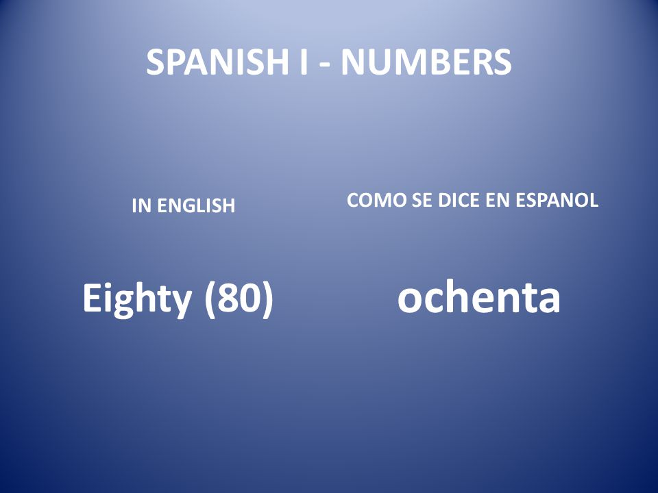 ochenta Eighty (80) SPANISH I - NUMBERS COMO SE DICE EN ESPANOL
