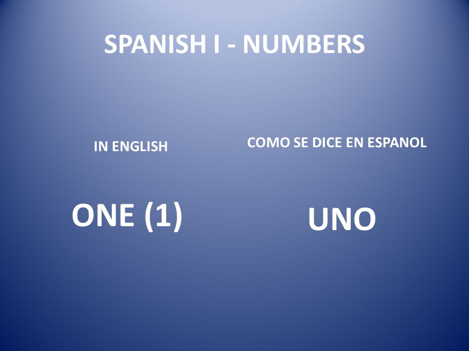 SPANISH I - NUMBERS COMO SE DICE EN ESPANOL IN ENGLISH ONE (1) UNO