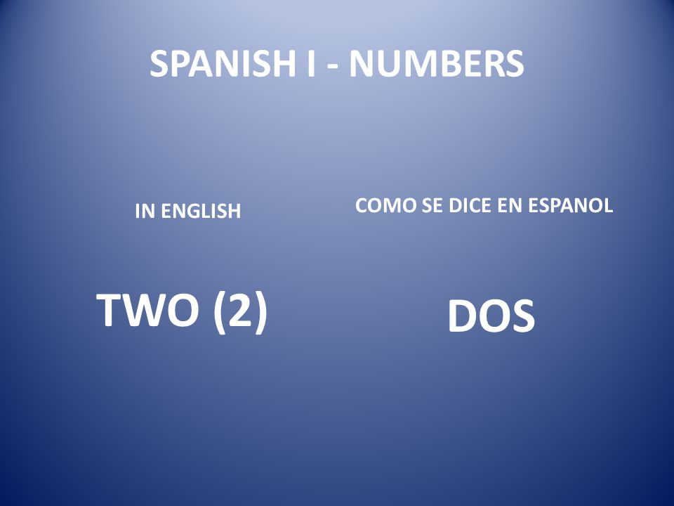 SPANISH I - NUMBERS COMO SE DICE EN ESPANOL IN ENGLISH TWO (2) DOS