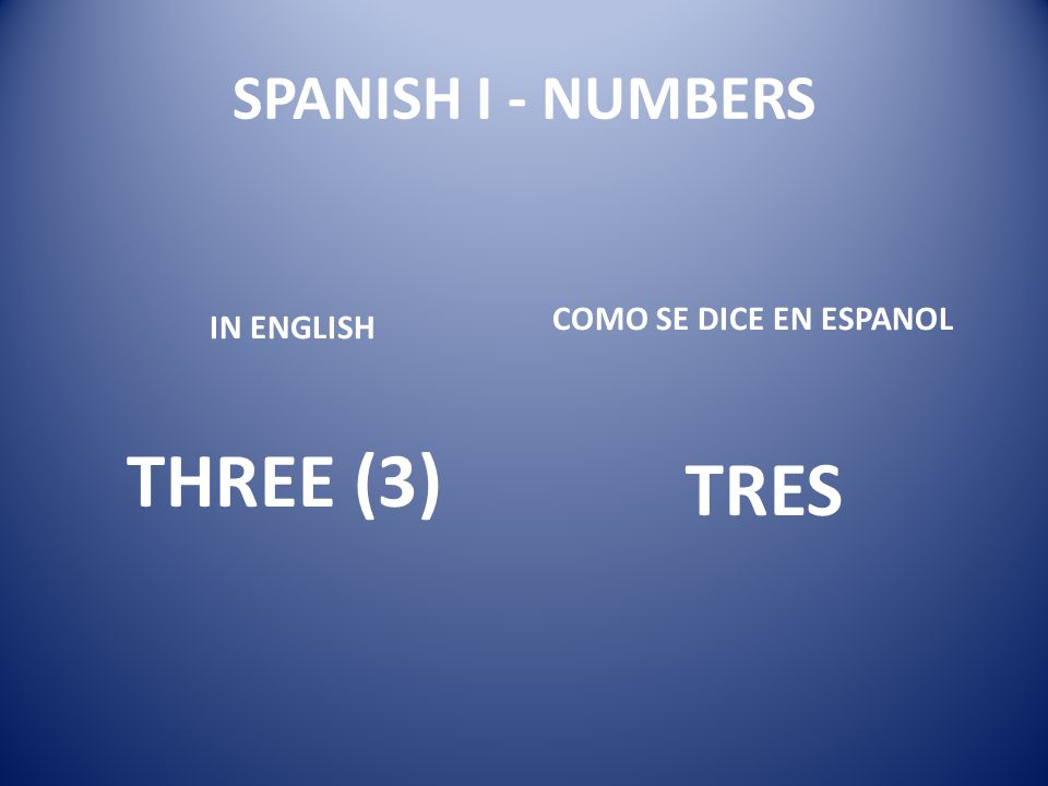 SPANISH I - NUMBERS COMO SE DICE EN ESPANOL IN ENGLISH THREE (3) TRES