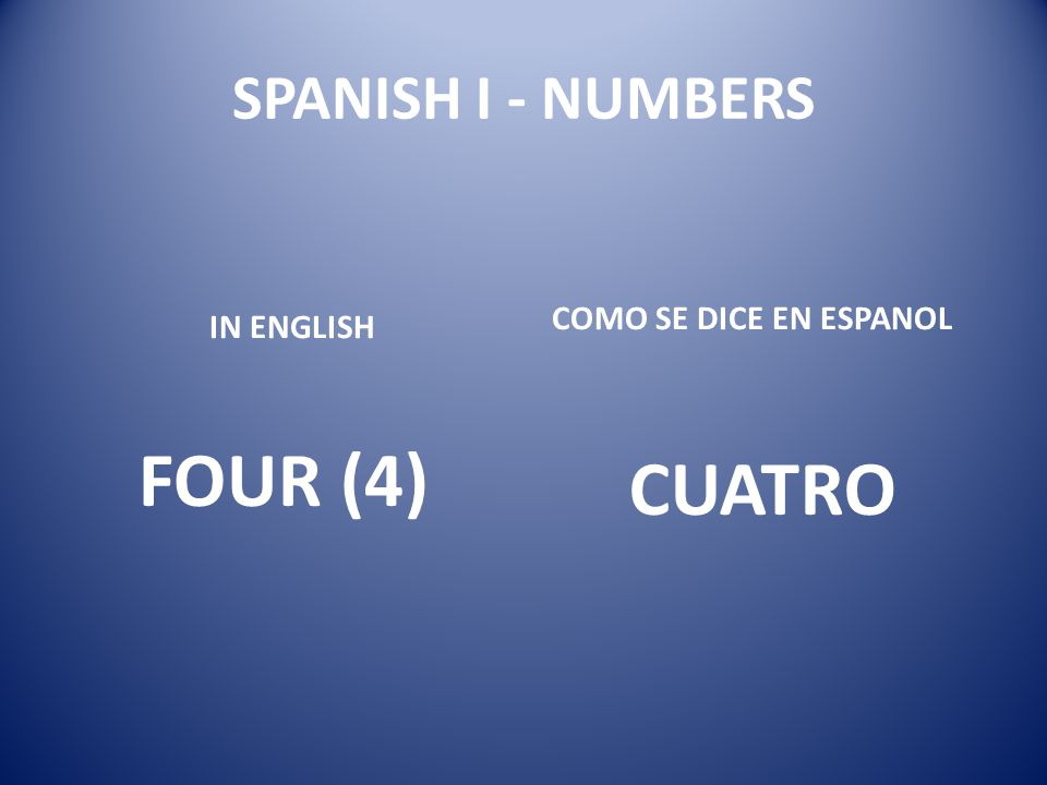 SPANISH I - NUMBERS COMO SE DICE EN ESPANOL IN ENGLISH FOUR (4) CUATRO