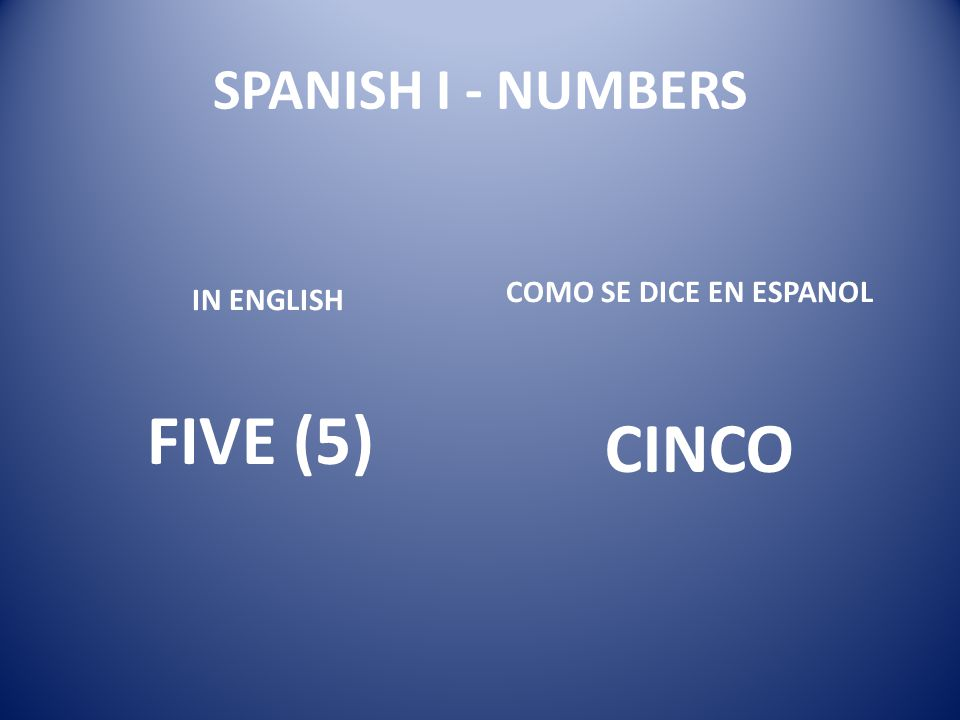 SPANISH I - NUMBERS COMO SE DICE EN ESPANOL IN ENGLISH FIVE (5) CINCO