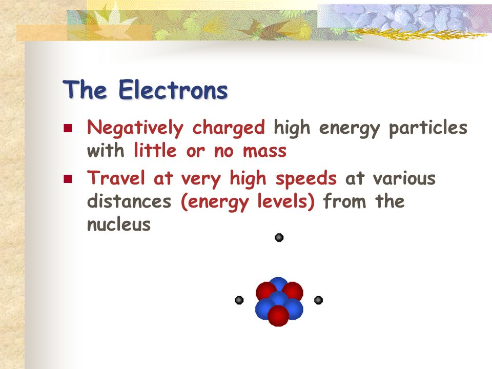 The Electrons Negatively charged high energy particles with little or no mass.