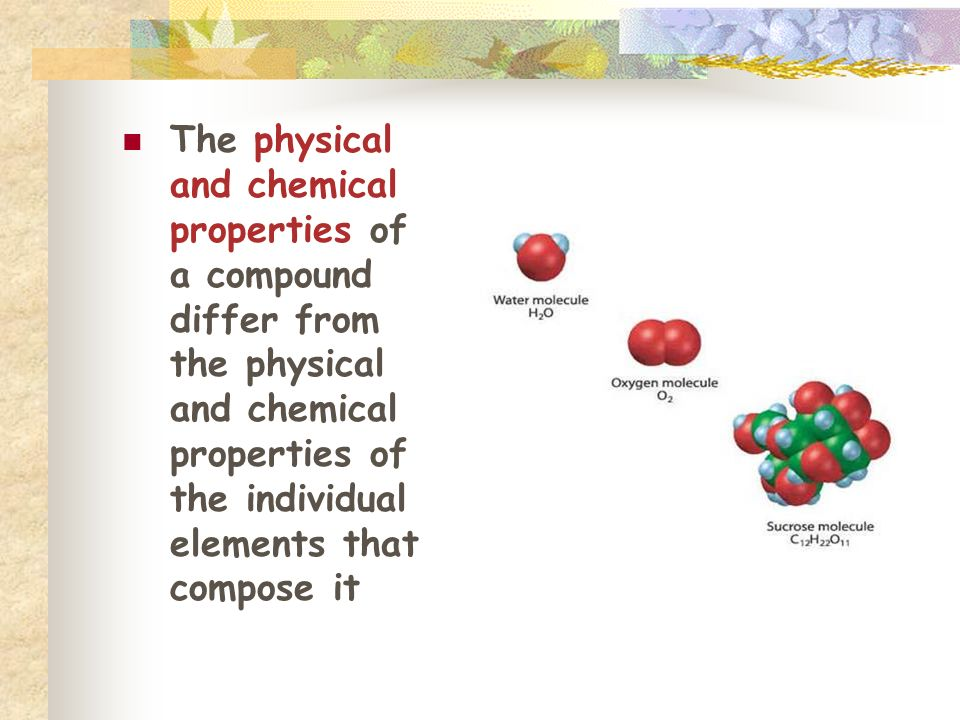 The physical and chemical properties of a compound differ from the physical and chemical properties of the individual elements that compose it
