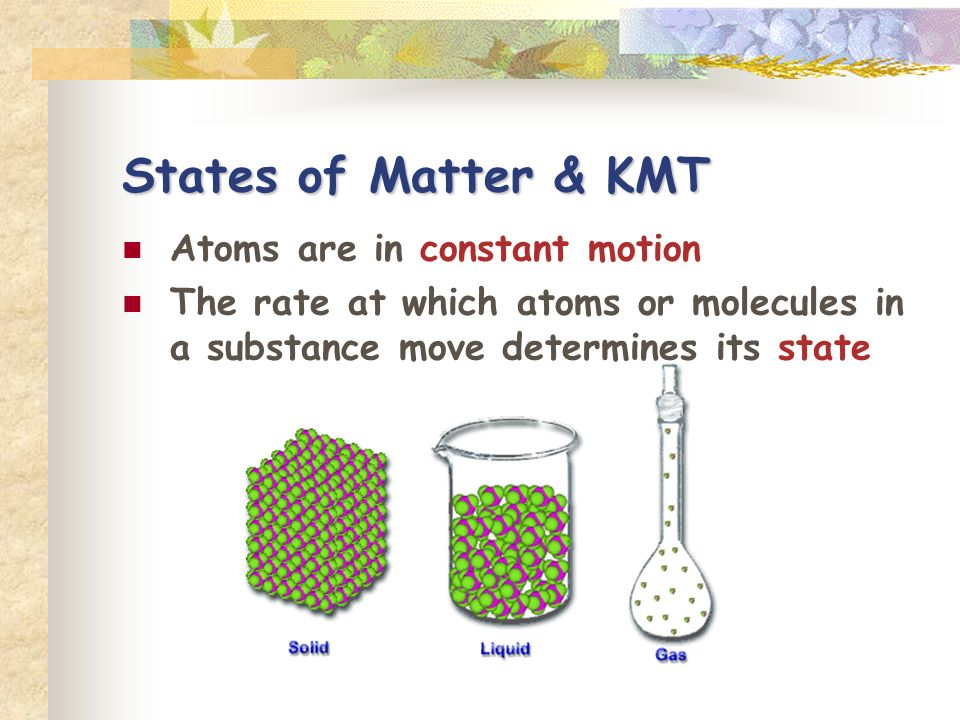 States of Matter & KMT Atoms are in constant motion