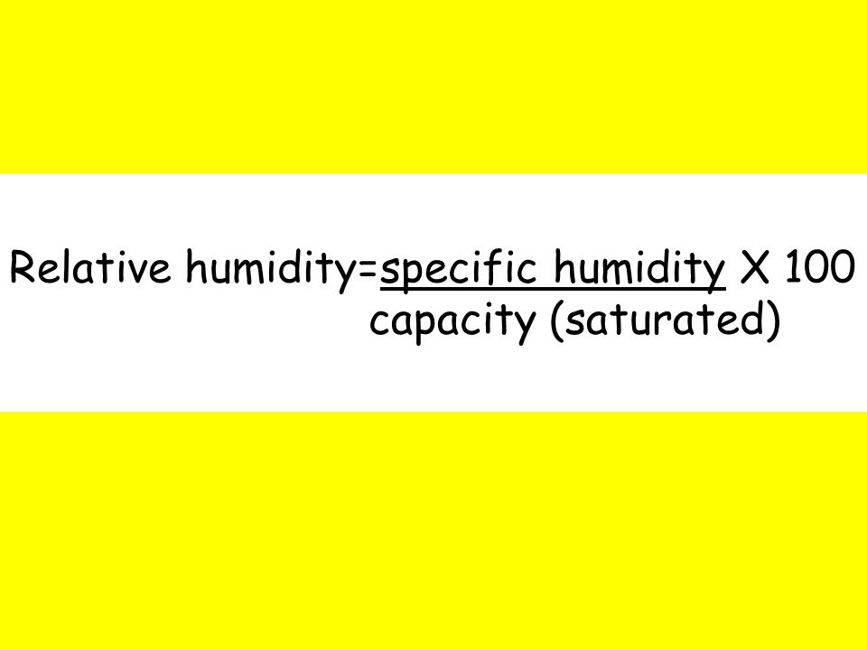 Relative humidity=specific humidity X 100 capacity (saturated)