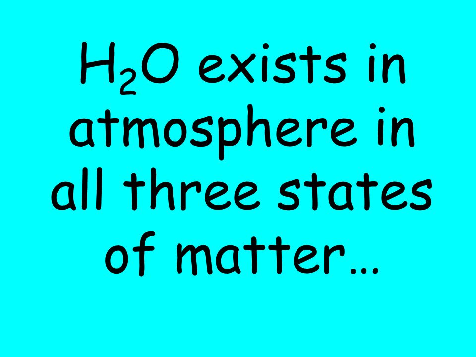 H2O exists in atmosphere in all three states of matter…