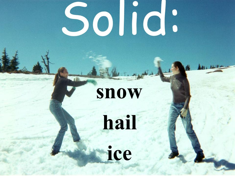 Solid: snow hail ice