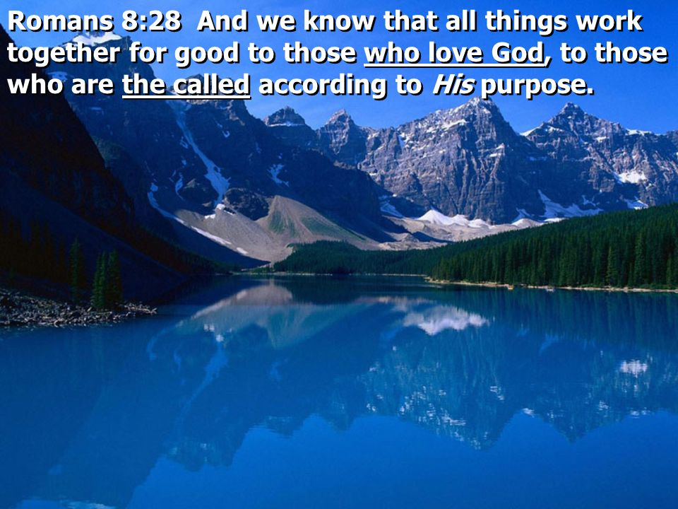 Romans 8:28 And we know that all things work together for good to those who love God, to those who are the called according to His purpose.