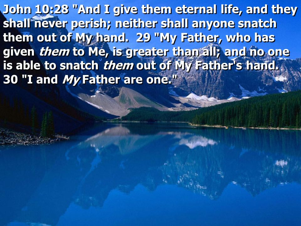 John 10:28 And I give them eternal life, and they shall never perish; neither shall anyone snatch them out of My hand.