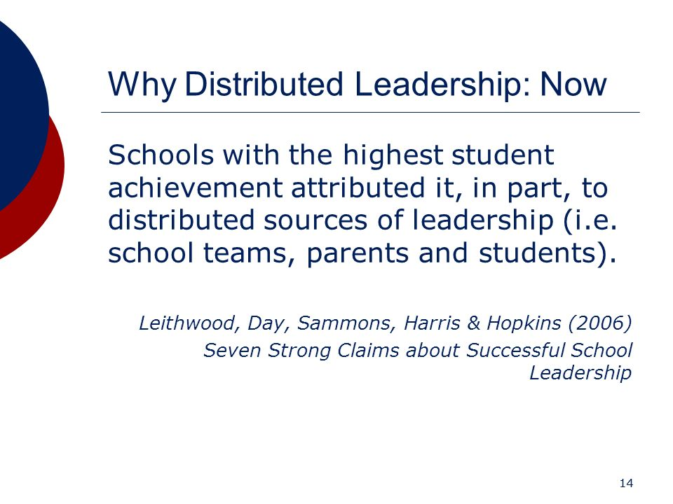 Why Distributed Leadership: Now