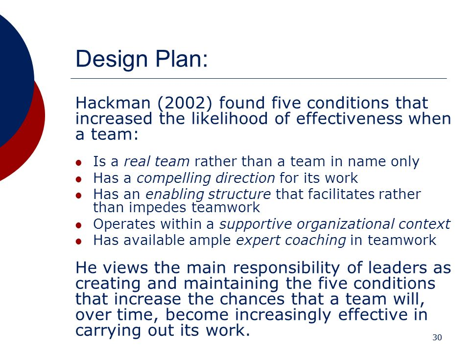 Design Plan: Hackman (2002) found five conditions that increased the likelihood of effectiveness when a team: