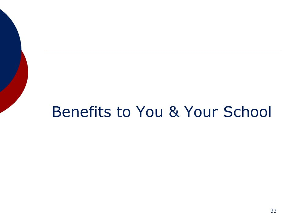 Benefits to You & Your School