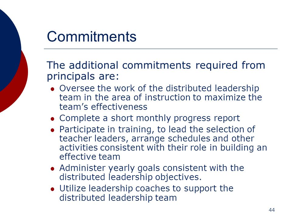 Commitments The additional commitments required from principals are: