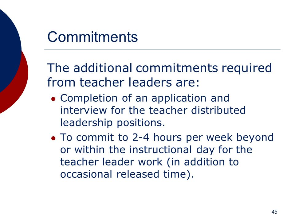 Commitments The additional commitments required from teacher leaders are: