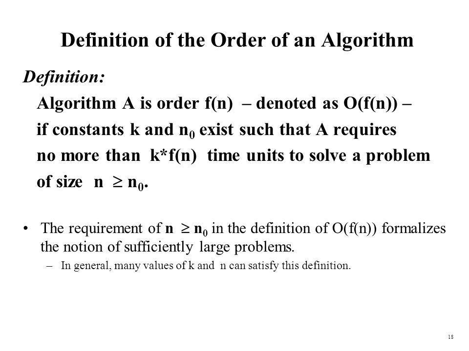 Definition of the Order of an Algorithm