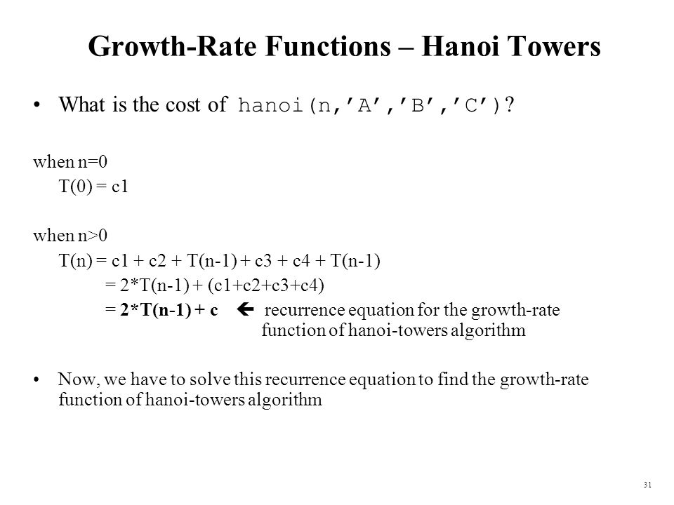 Growth-Rate Functions – Hanoi Towers