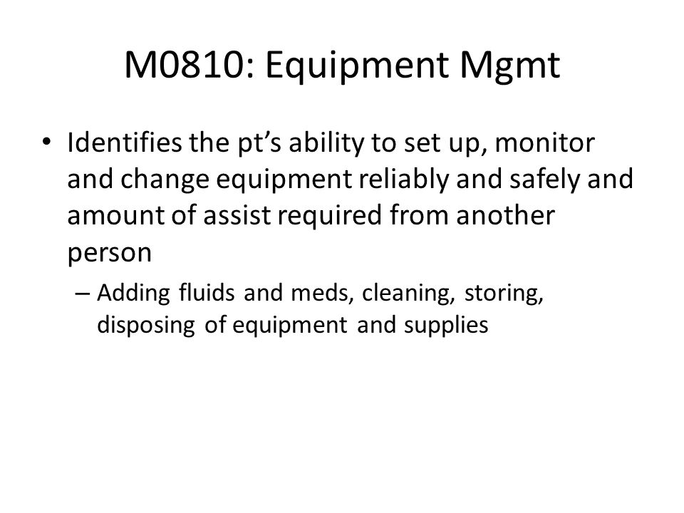 M0810: Equipment Mgmt