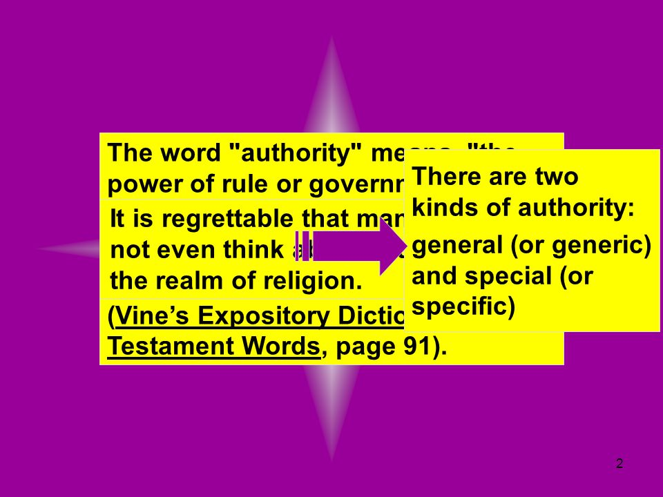 The word authority means, the power of rule or government, the power of one whose will and commands must be obeyed by others.