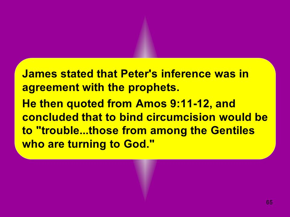 James stated that Peter s inference was in agreement with the prophets.