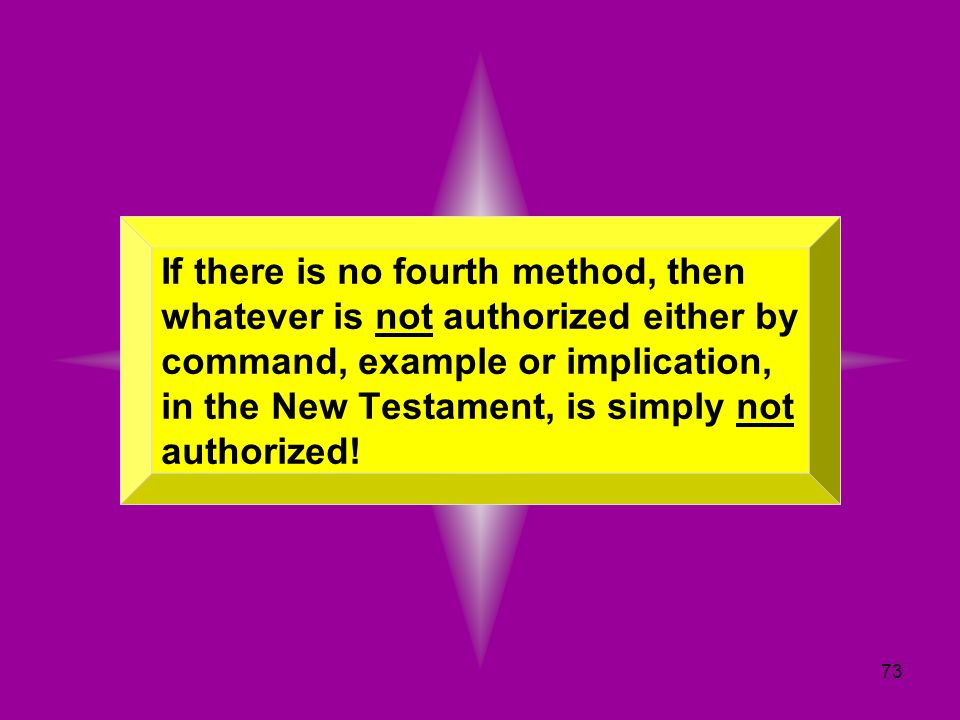 If there is no fourth method, then whatever is not authorized either by command, example or implication, in the New Testament, is simply not authorized!