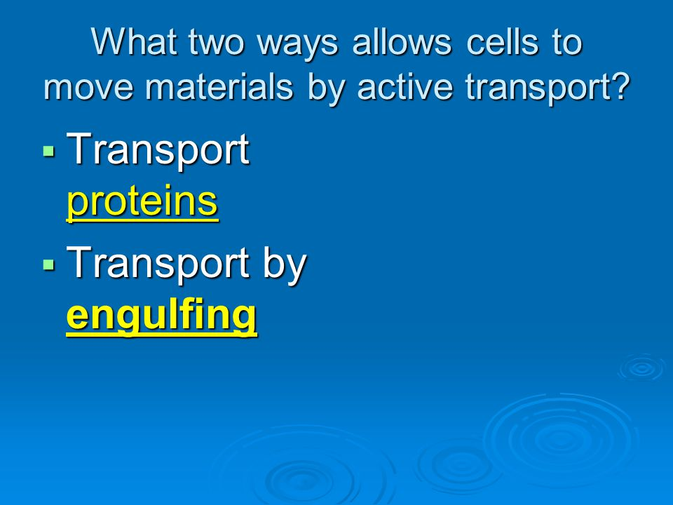 What two ways allows cells to move materials by active transport