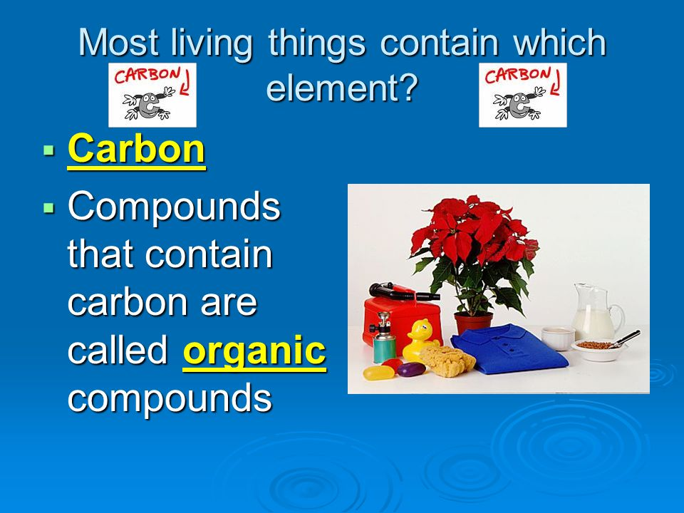Most living things contain which element