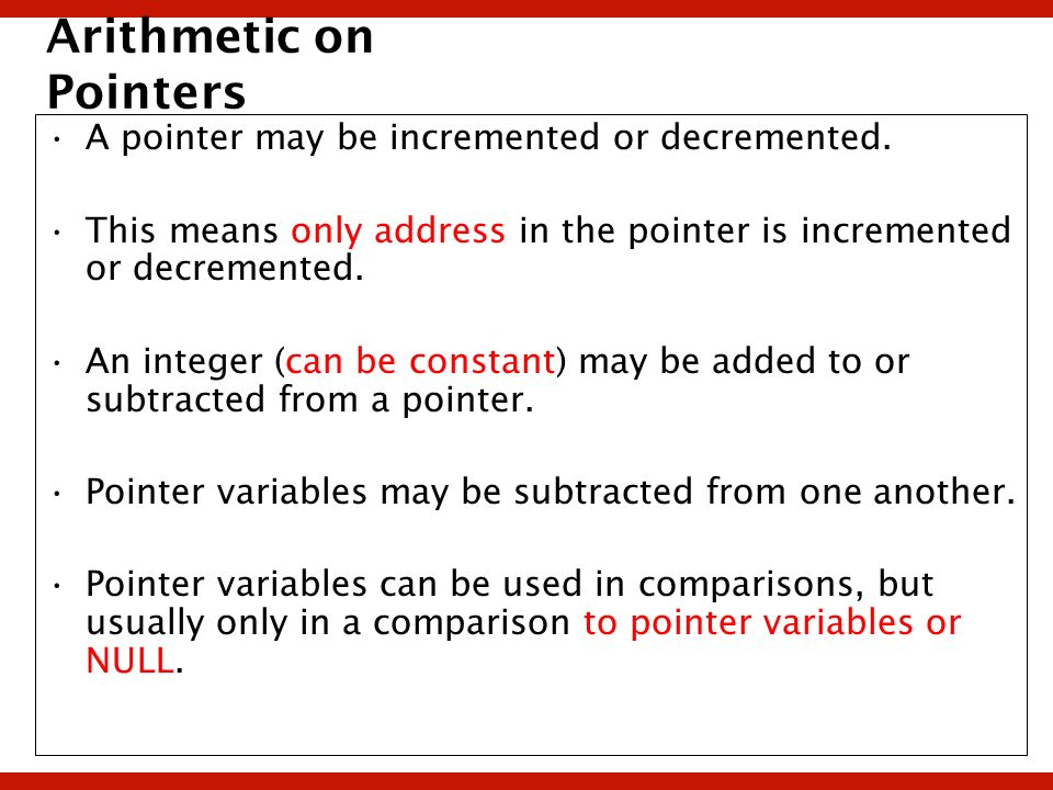 Arithmetic on Pointers