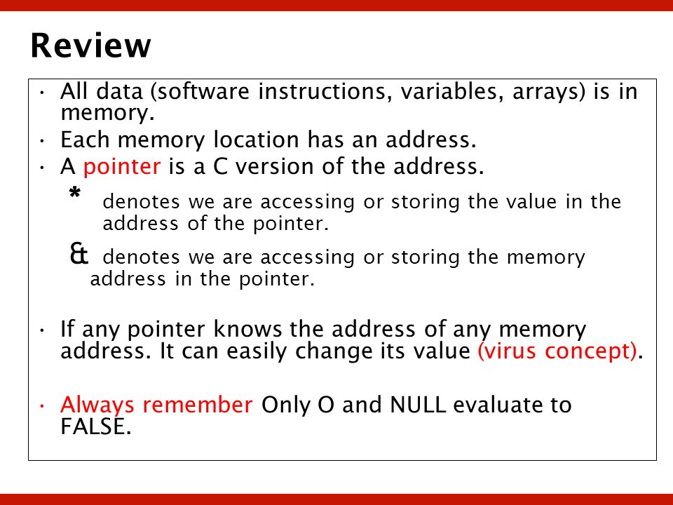 Review All data (software instructions, variables, arrays) is in memory. Each memory location has an address.