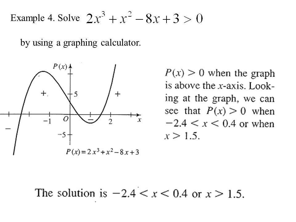 Example 4. Solve by using a graphing calculator.