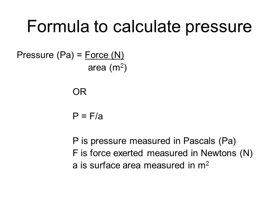 Formula to calculate pressure