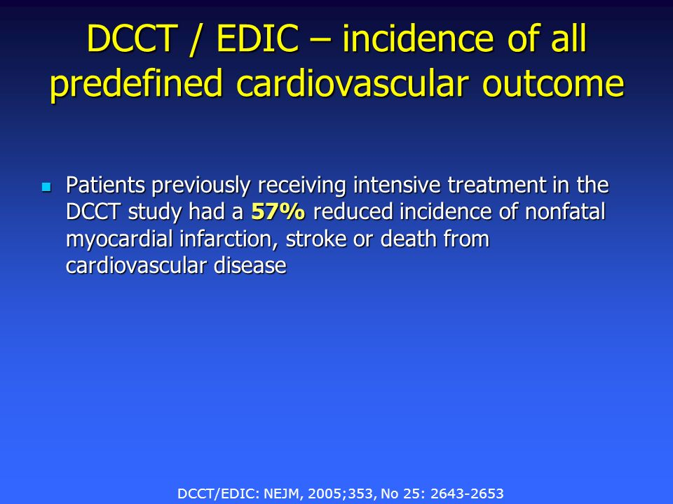 DCCT / EDIC – incidence of all predefined cardiovascular outcome