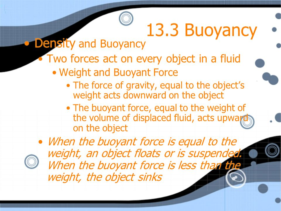 13.3 Buoyancy Density and Buoyancy