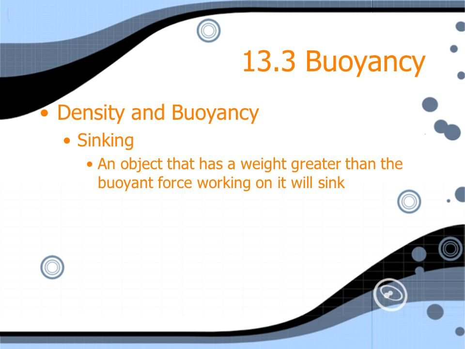 13.3 Buoyancy Density and Buoyancy Sinking