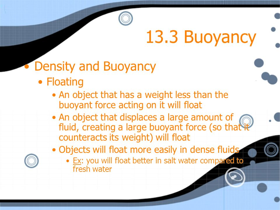 13.3 Buoyancy Density and Buoyancy Floating